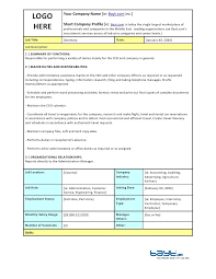 Job Description Template Marketing Administrative