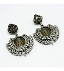 indian silver jewelry painting glass oxidized silver earring silver jewelry