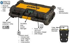 dewalt tough system radio. dewalt dwst1-75663 18v toughsystem dab digital radio bluetooth charger bare unit tough system