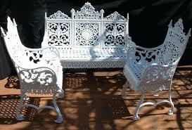 Outdoor Wrought Iron Furniture Cast Iron Garden Furniture White