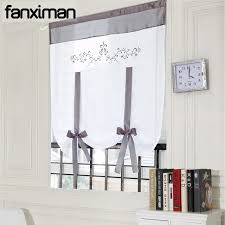 1 pc polyester fabric short sheer roman shades curtains for living room bedroom window blinds embroidered sheer roman shades o14
