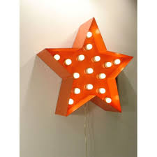 orange metal star decor light very