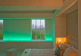 home mood lighting. beautiful bedroom interior and lighting in modern apartment mood home