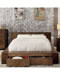 Furniture of America Janeiro Collection CM7629EK-BED Eastern King Size Bed with Storage Drawers Modern Low Headboard Design Slat Kit Included and Wood ...