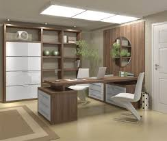 home office designers contemporary home offices. Office:Ultra Modern Home Office Decor Ideas Presenting White Modrest Zayd Chair Also Brown Wooden Table Connected To Wall Paneling Plus Round Designers Contemporary Offices