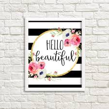 hello beautiful black and white stripe watercolor flower floral print printable wall art pink coral peach on pink and gold floral wall art with pink black and white wall decor my web value