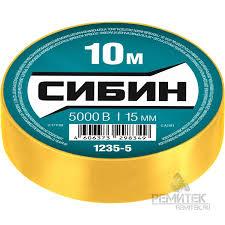 <b>СИБИН ПВХ изолента</b>, 10м х <b>15мм</b>, желтая <b>СИБИН</b> арт. 1235-5 ...