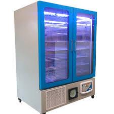 metal blue double glass door refrigerator