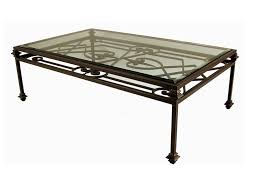 coffee table with double iron wrought and glass top image and description