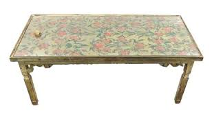 oblong coffee table hand painted top