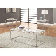 Marble Living Room Table Set Coaster 701626 Silver Marble Coffee Table Set Steal A Sofa