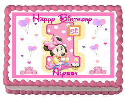 Amazon Baby Minnie 1st Birthday Edible Frosting Sheet Cake