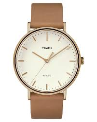 timex fairfield 41mm leather watch