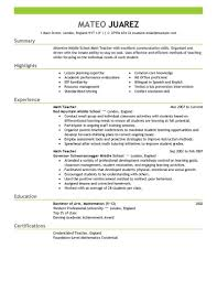 teachers resume example