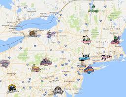 New York Penn League Map Minor League Baseball Sports