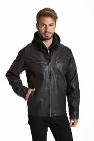 faux leather racer jacket with removeable hood zoom