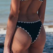 Posh Pua Black Makai Stitching Bikini Bottom Nwt