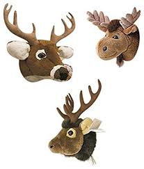 Moose, Elk & White Tailed Deer Set of Three Wall Mounted Stuffed Animal  Heads