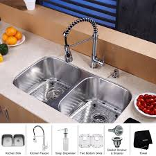 E KRAUS 32 Inch Undermount Double Bowl Stainless Steel Kitchen Sink With  Faucet And Soap Dispenser