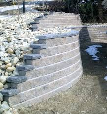 retaining wall cap blocks block walls earth tone color with charcoal caps nicely flowing retaining wall