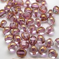 feather pink 8mm tricon cut golden finished fire polished glass bead