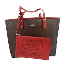COACH F36658 SIGNATURE REVERSIBLE CITY TOTE BROWN TRUE RED   Jewelry ...