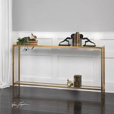 gold console table. Classic Minimalist Gold Console Table