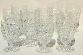 1930s vintage hobnail glass wine glasses footed tumblers set crystal clear anchor hocking
