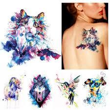 1x Diy Body Art Dočasné Tetování Barevné Zvířata Akvarel Malba Kresba Kůň Butterfly Decal Vodotěsný Tetování Samolepka At Vova
