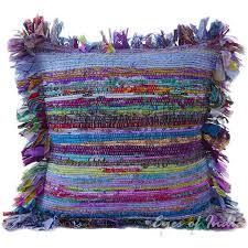 blue chindi colorful throw pillow couch sofa cushion boho rag rug bohemian cover 16