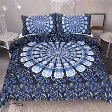 hot 3d blue white flower mandala pattern bedding set bohemia duvet cover luxury plain home textiles twin full queen king contemporary bedding sets