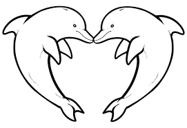 Small Picture two dolphins forming a heart Animal Coloring pages for kids to