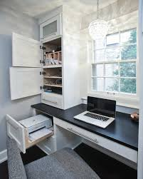 Office:Hidden Storage In Office Desk With Sliding Door Below Yellow Pendant  Light Creative Hidden