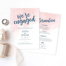 Blush And Navy Engagement Party Invitations
