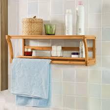 wood towel bar. Bathroom Glass Shelves With Towel Bar Wall Mounted Bamboo Wood Shelf Rack Rail Holder
