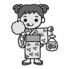 浴衣の女の子モノクロなつまつり夏祭りの無料イラスト夏の季節