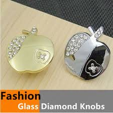 modern fashion glass diamond furniture knobs glass crystal apple drawer cabinet knobs silver gold carttoon pulls cheap furniture knobs