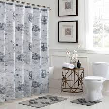 bath fusion fleur de lis 18 in x 30 in bath rug and 72 in x 72 in shower curtain 15 piece set in grey ymb007221 the home depot