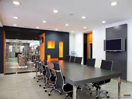 interior design in office. Interior, Exceptional Open Plan Office Meeting Room Design Inspiration With Picturesque Black Wood Rectangular Coference Table And Stylish Arm Chairs Interior In D