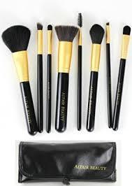 makeup brush set 8pcs black cosmetic brushes kit bag flat top kabuki foundation