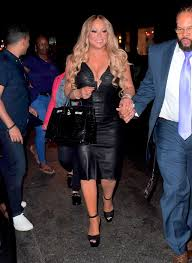 mariah carey in tight leather dress after her madison square garden concert 08 19 2017