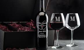 personalized wine bottle glass romance gift set 4 piece
