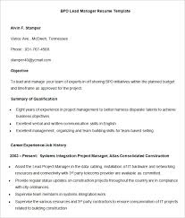 BPO Lead Manager Resume Template Sample
