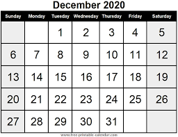 Blank Calendar December 2020 Free Printable Calendar Com
