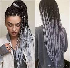 Extra Argent Ombre Gris Perruque Avant De Lacet Synthétique Boîte De Cheveux Tresses Coiffure Afro Américaine Longue Tressée Perruques Pour Les Femmes