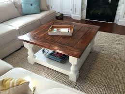 building a coffee table farmhouse coffee table with stained top and white bottom diy rustic coffee table easy