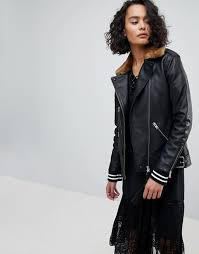 allsaints oversized leather jacket with faux fur collar 1225258 mvqdsrz