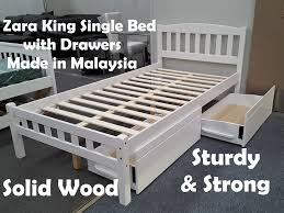 picture of zara king single bed in white with drawers