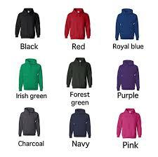 Hoodie Colour Chart Home State Hooded Sweatshirts Royal Majestees