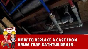 Bathtub bathtub drum trap : How to Replace a Cast Iron Steel Drum Trap Bathtub Drain with PVC ...